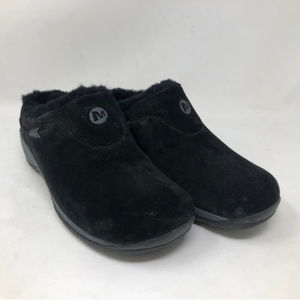 MERRELL | Black Suede Fuzzy Slippers